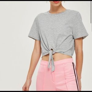Topshop Gray Cropped Tie Front Short Sleeve Top